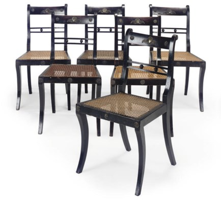 A SET OF SIX REGENCY EBONISED,
