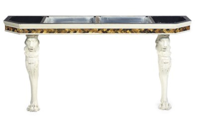 A PAINTED AND INLAID CONSOLE T