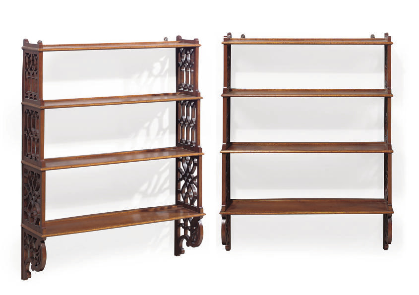 A PAIR OF MAHOGANY FOUR TIER H