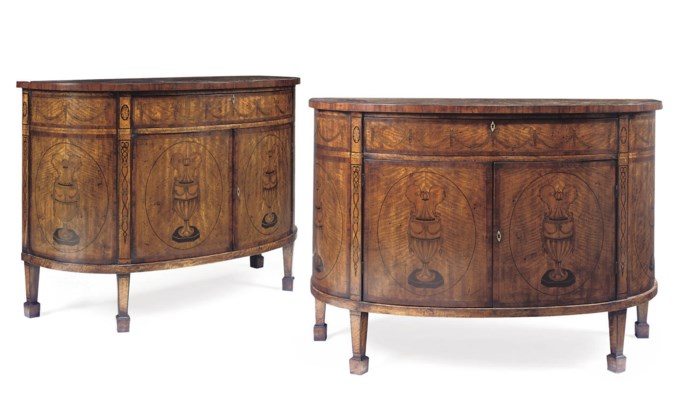 A PAIR OF DEMI-LUNE COMMODES