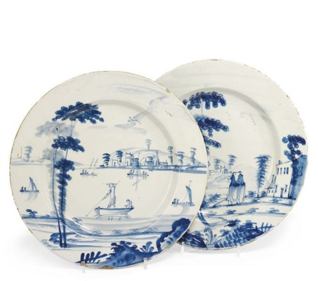 TWO BRISTOL DELFT BLUE AND WHI