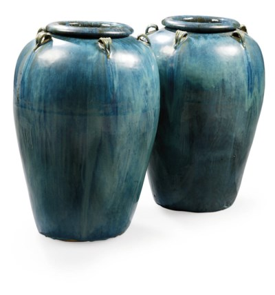 A PAIR OF POTTERY FLOOR VASES