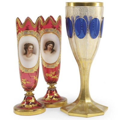 A PAIR OF BOHEMIAN GLASS PORTR