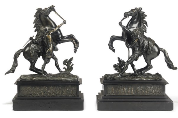A PAIR OF FRENCH BRONZE 'MARLY