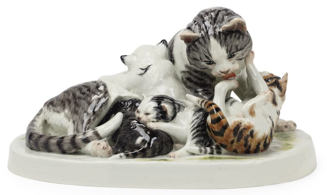 A MEISSEN GROUP OF A CAT AND K