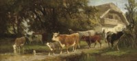 Watering cattle before a farmstead
