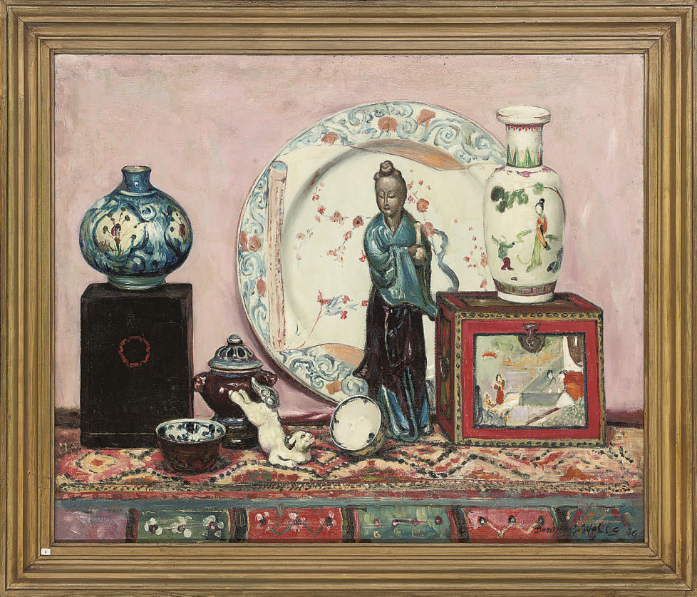 Still life with Chinese porcelain plate; and Still life with oriental figurine