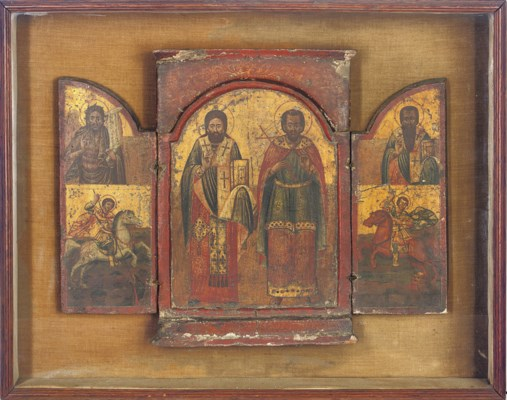 A TRIPTYCH WITH STS. KLEMES AN