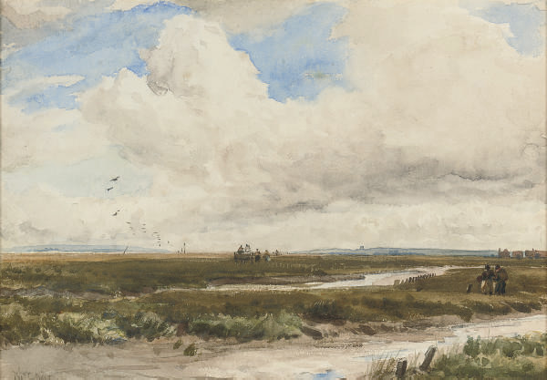 Figures with a cart in a landscape