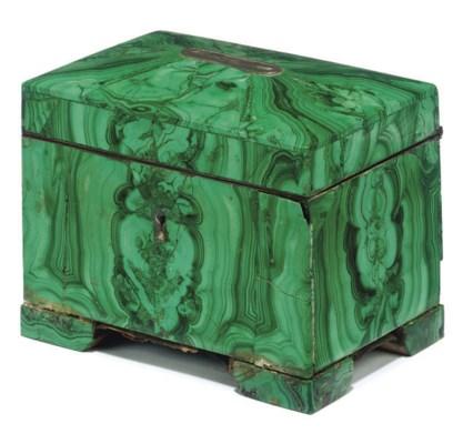 A RUSSIAN MALACHITE MONEY BOX