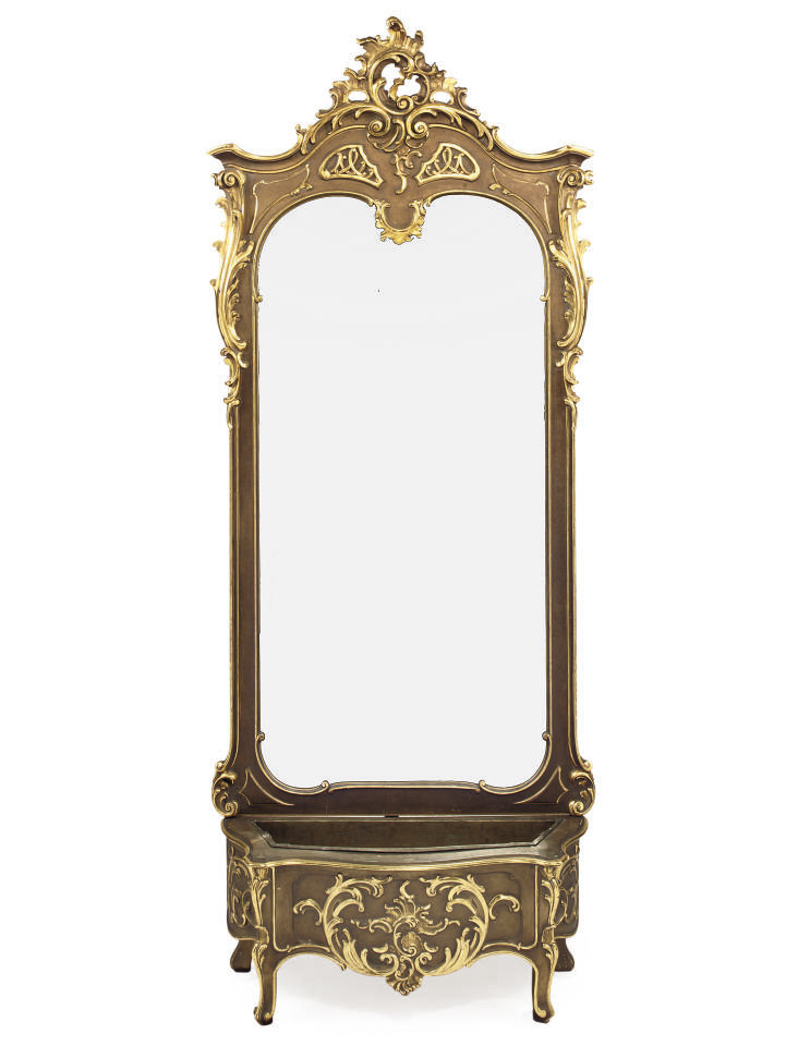 A GILTWOOD MIRROR AND JARDINIE