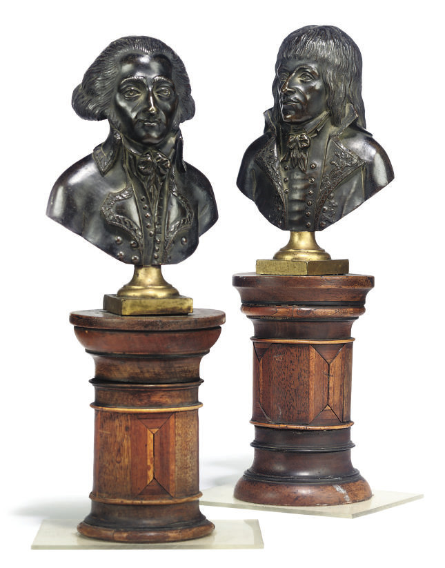 A PAIR OF FRENCH BRONZE BUSTS,