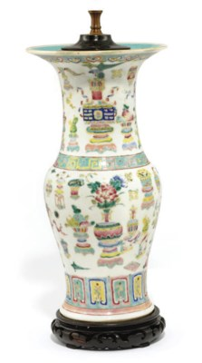 A CHINESE FAMILLE ROSE LAMPED