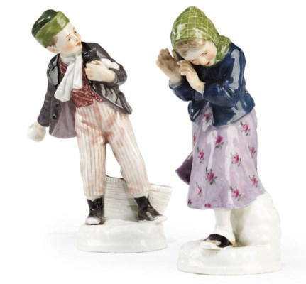 A PAIR OF MEISSEN PORCELAIN FI