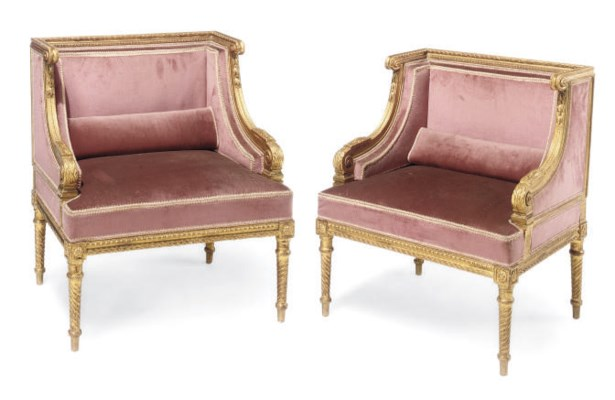 A PAIR OF GILTWOOD UPHOLSTERED
