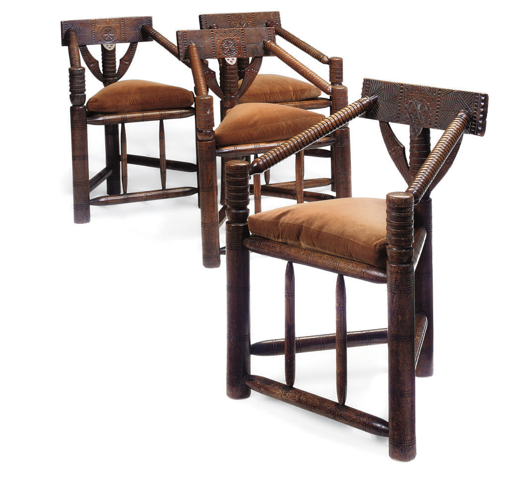 Kitchen Chairs Ireland: A SET OF FOUR IRISH OAK AND ASH TURNER'S CHAIRS , LATE