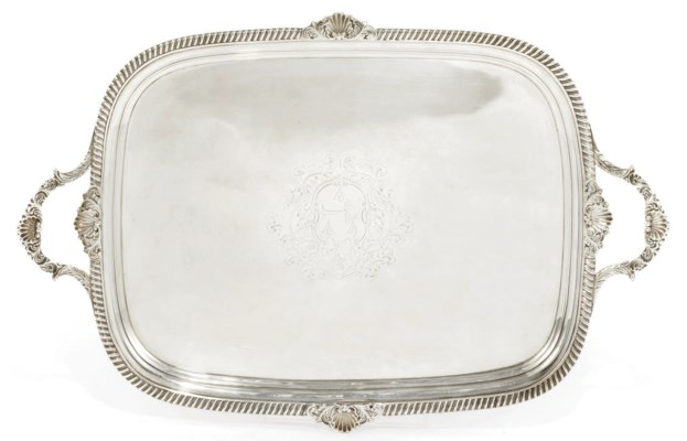 A GEORGE III SILVER TWO-HANDLE
