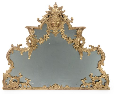 A FRENCH CARVED GILTWOOD MIRRO