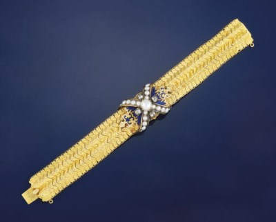 A mid 19th century gold, pearl