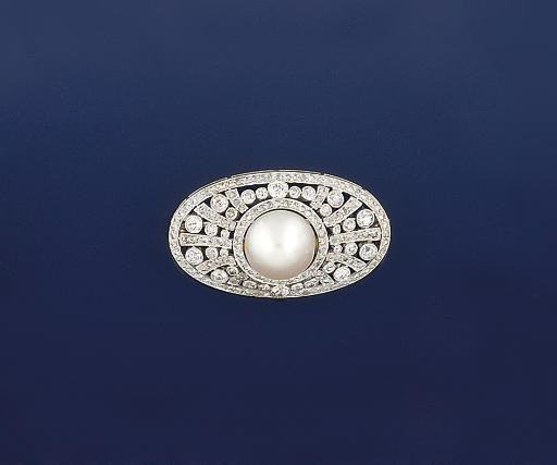 A Belle Epoque pearl and diamo