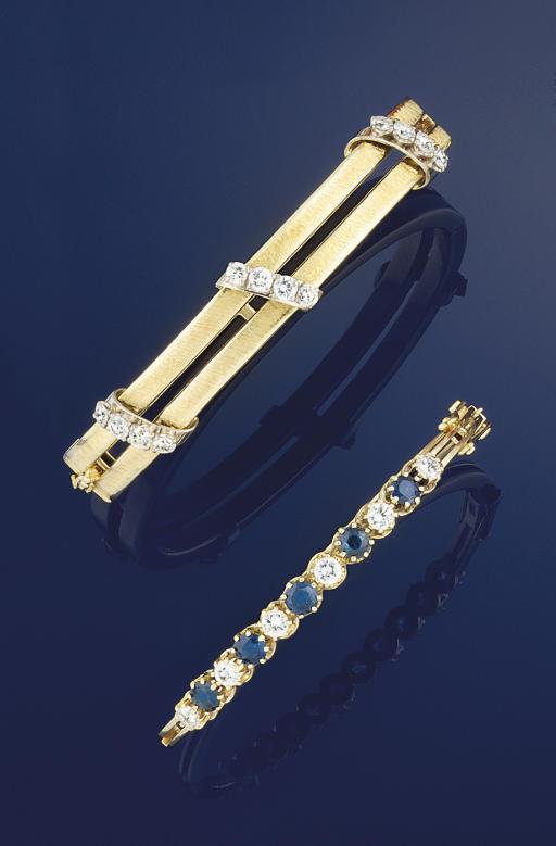 A diamond bangle and a diamond