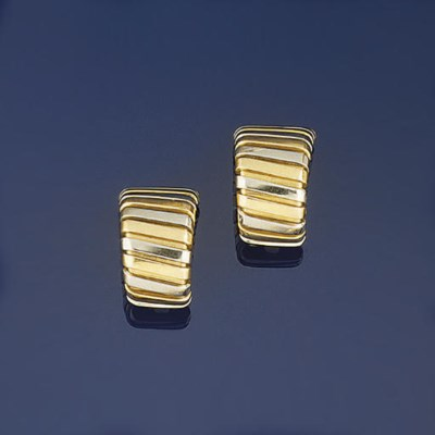 A pair of two-colour earclips,