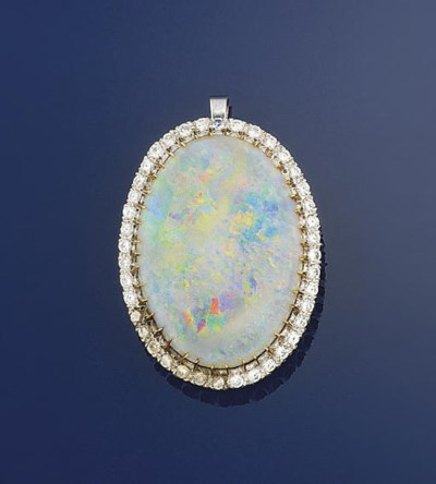 An opal and diamond brooch pen