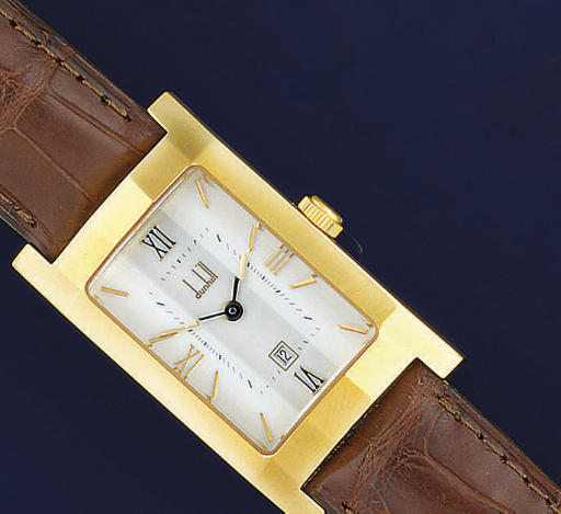 A STAINLESS STEEL AND GILT METAL WRISTWATCH, BY DUNHILL