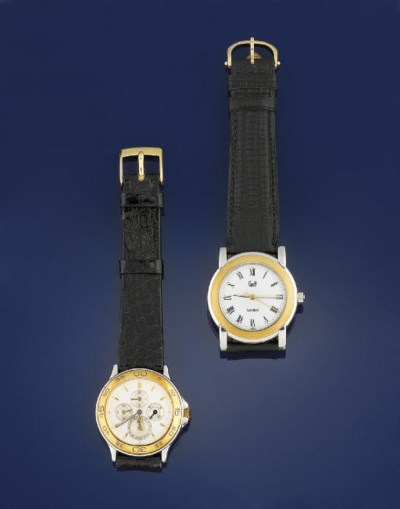 TWO STAINLESS STEEL AND GILT A