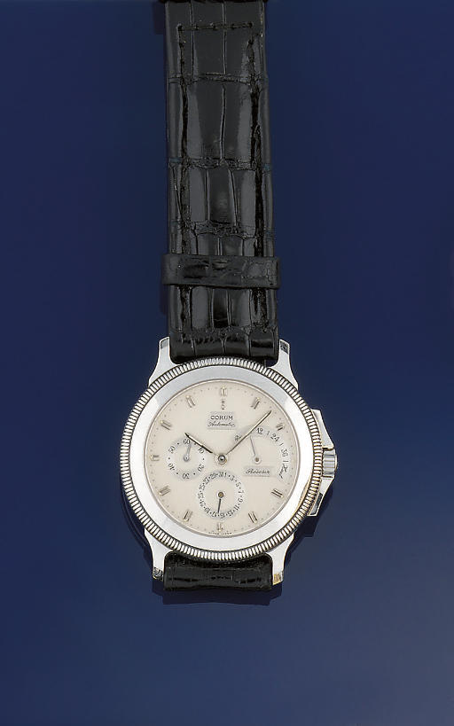 A platinum calendar wristwatch