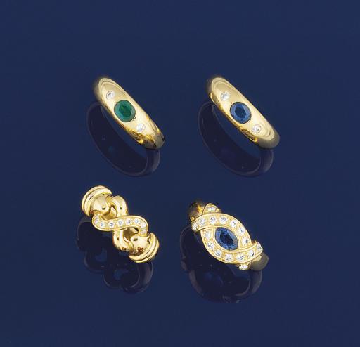 FOUR DIAMOND AND GEM RINGS