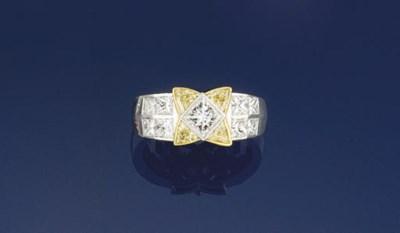 A platinum, diamond and colour