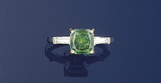 A treated green diamond single