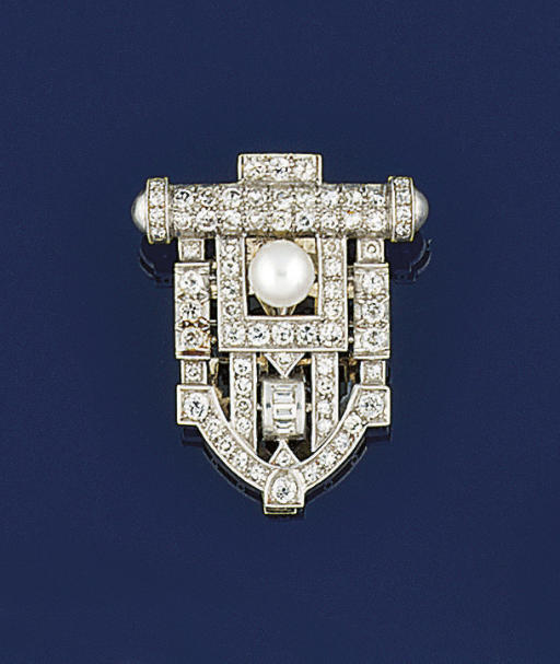 AN ART DECO DIAMOND AND PEARL