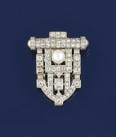AN ART DECO DIAMOND AND PEARL