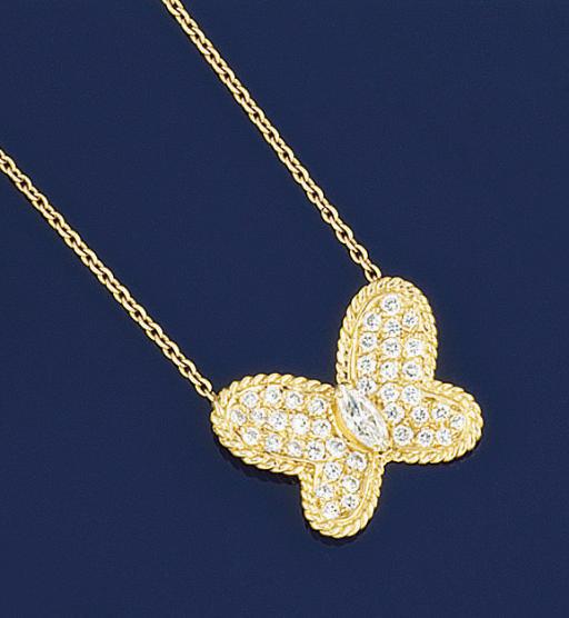 A diamond butterfly necklace,