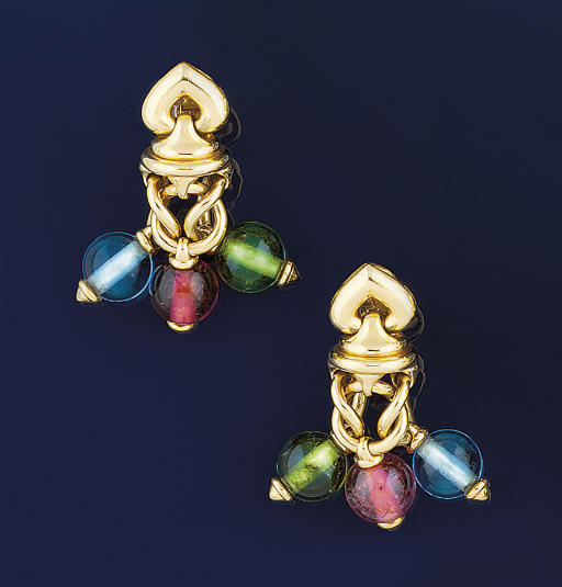 A pair of gemstone earpendants