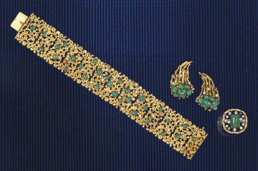 A SMALL GROUP OF 18CT. GOLD, EMERALD AND DIAMOND JEWELLERY, BY JOHN DONALD
