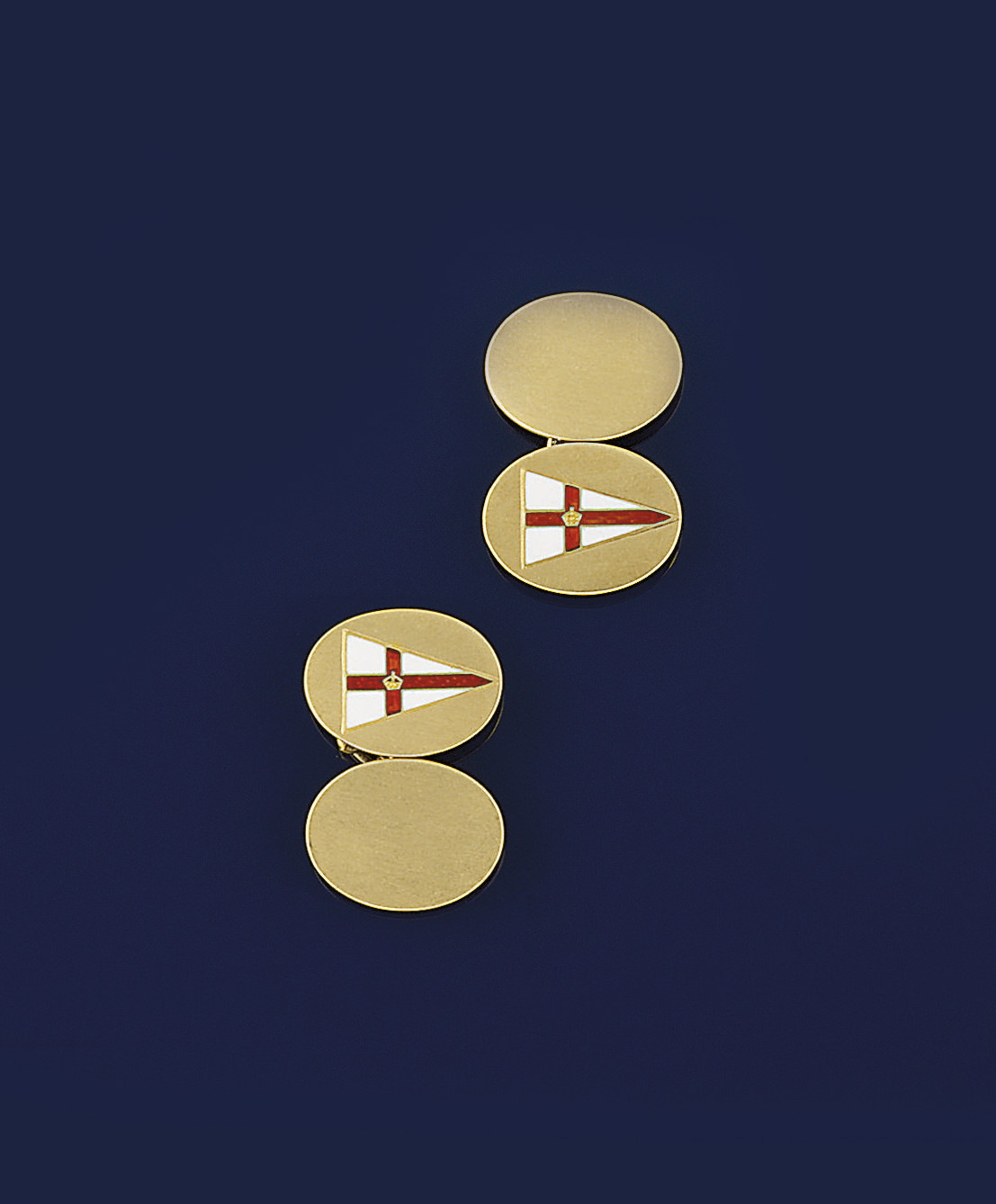 A pair of 18ct. gold enamelled