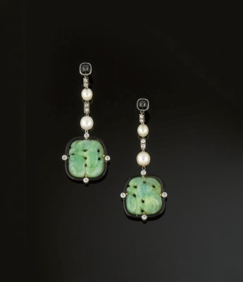 A pair of Art Deco jade diamon