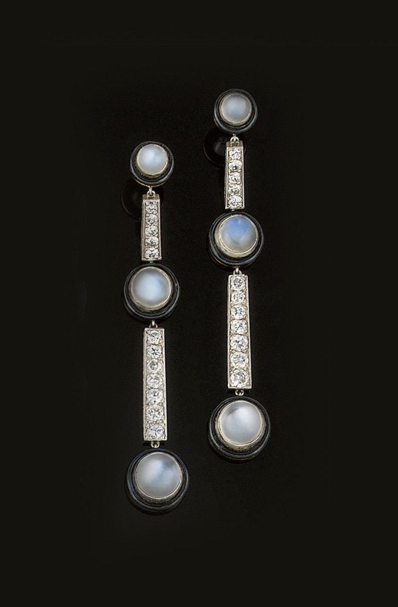 A pair of diamond moonstone an