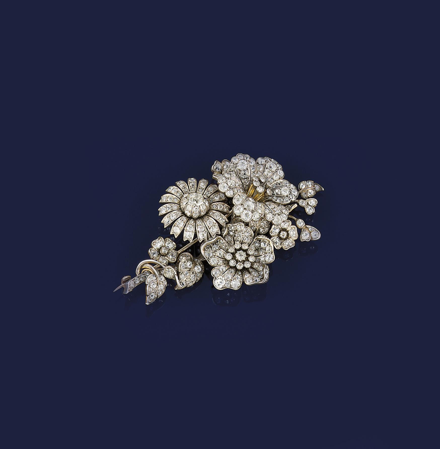 A 19th century diamond floral
