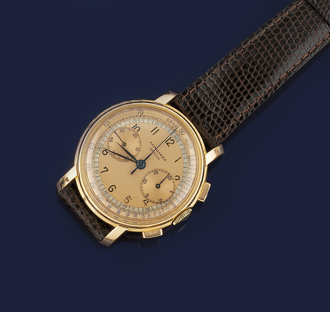 A CHRONOGRAPH WRISTWATCH, BY L