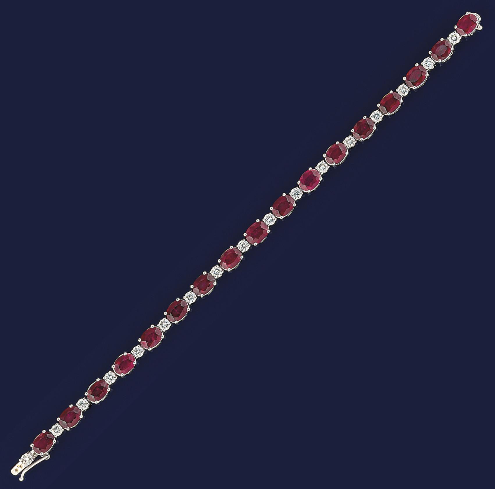 A ruby and diamond braceleet