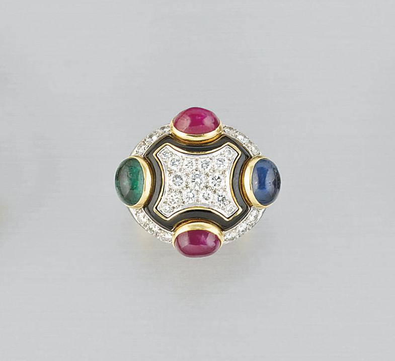 A DIAMOND, GEM AND ENAMEL RING