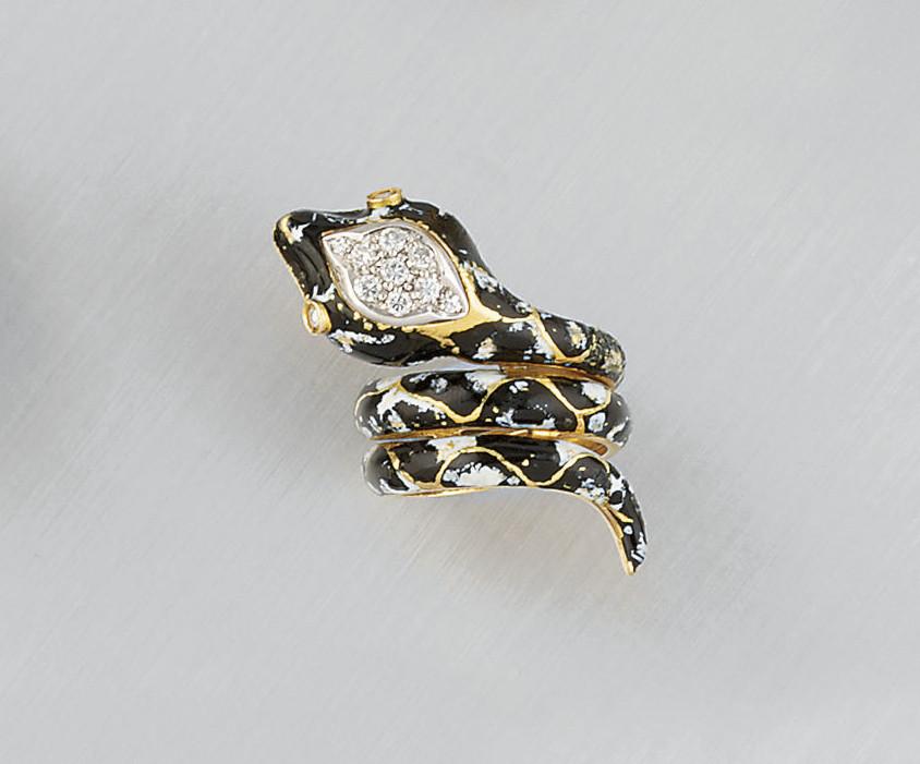 A diamond and enamel serpant r