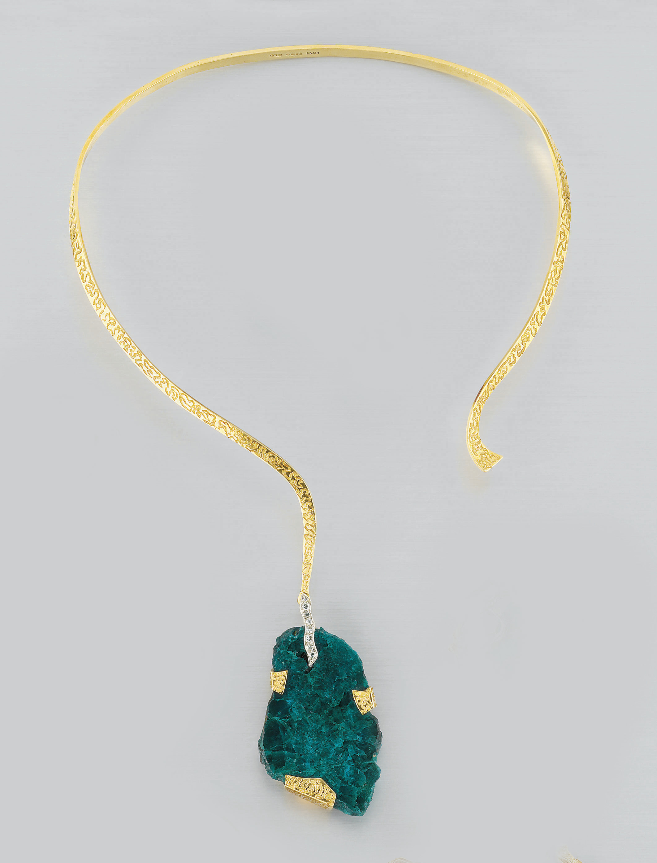 A GOLD, DIOPTASE AND DIAMOND P
