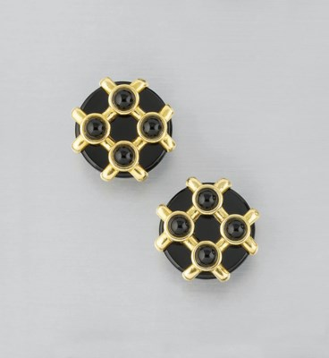 A PAIR OF ONYX EARCLIPS, BY A.