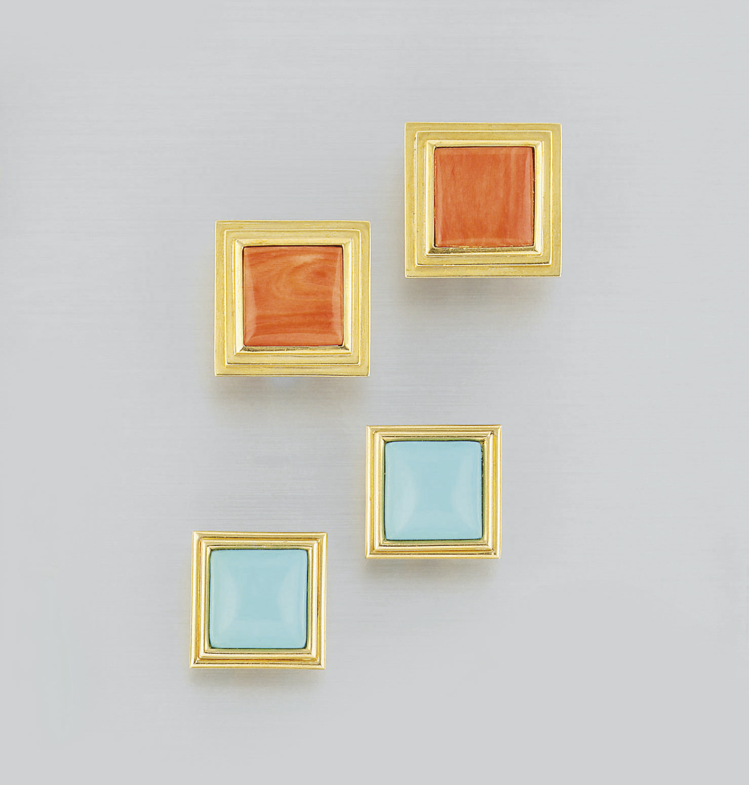 Two pairs of coral and turquoi