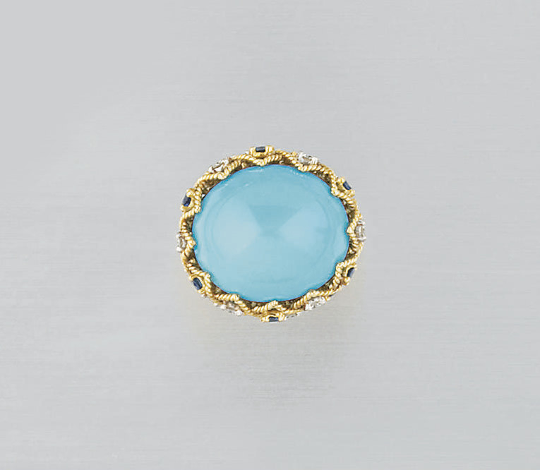 A turquoise, sapphire and diam